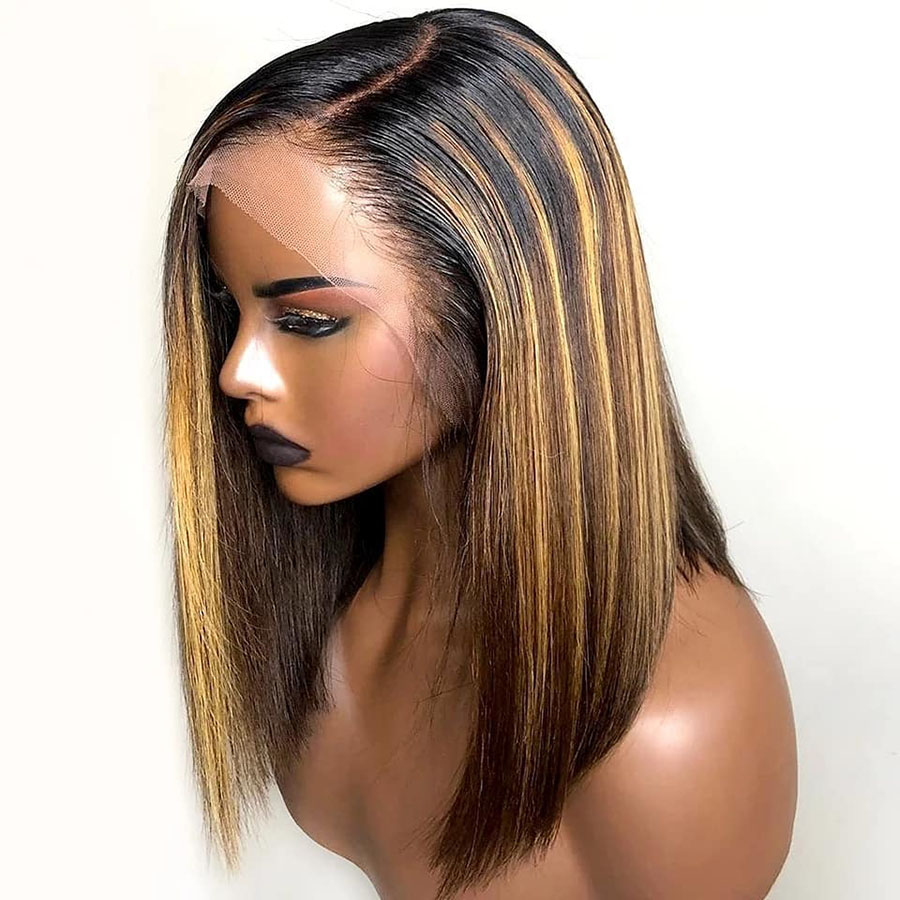 13x6 Highlight Wig 150% 4/27 Ombre Brown Short Bob Wigs Brazilian Remy Hair Honey Blonde Lace Front Wig Colored Human Hair Wigs