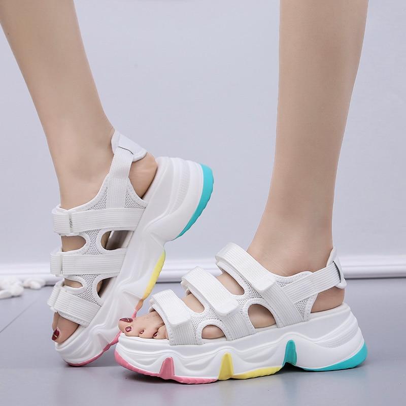 verão sapatos femininos respirável conforto andando sandálias
