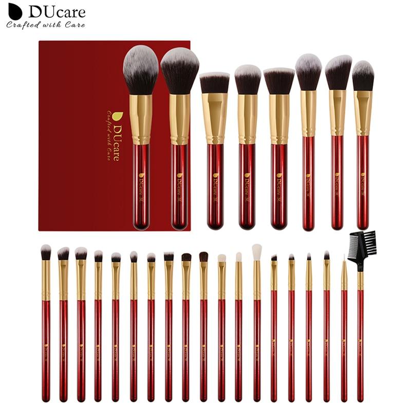 DUcare Makeup Brushes 27Pcs Classic red Professional Makeup Brush Set Premium Synthetic Goat Pony Hair Blending Brush MakeUp Kit|Eye Shadow Applicator| - AliExpress