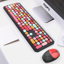 Wireless Keyboard and Mouse Combo Silent 2.4GHz Wireless Connection with USB Receiver Colorful Cute 110 Keys Full-Sized Keyboard