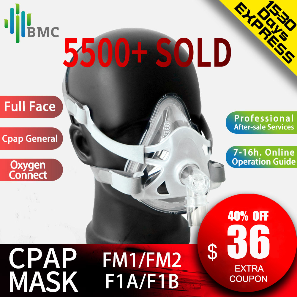 BMC FM1/FM2/F1A/F1B Full Face Mask For Snoring Apply To Medical CPAP BiPAP Ventilator Size S/M/L with Headgear Free Shipping