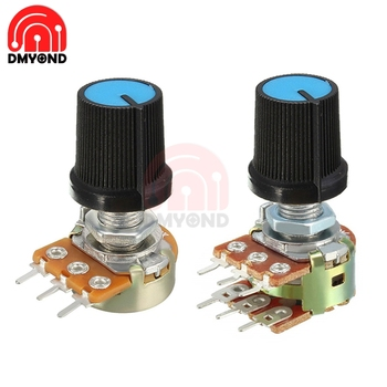 5PCS Blue WH148 Knob Swtich Rotary Potentiometer Linear Taper For Arduino Cap 1K 2K 5K 10K 20K 50K 100K 250K 500K 1M Ohm image