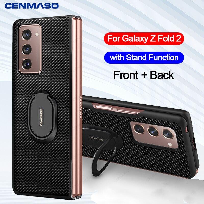 Роскошный чехол из углеродного волокна для Samsung Galaxy Z Fold 2, Кожаный противоударный чехол с подставкой для Samsung Fold2 5G|Специальные чехлы|   | АлиЭкспресс