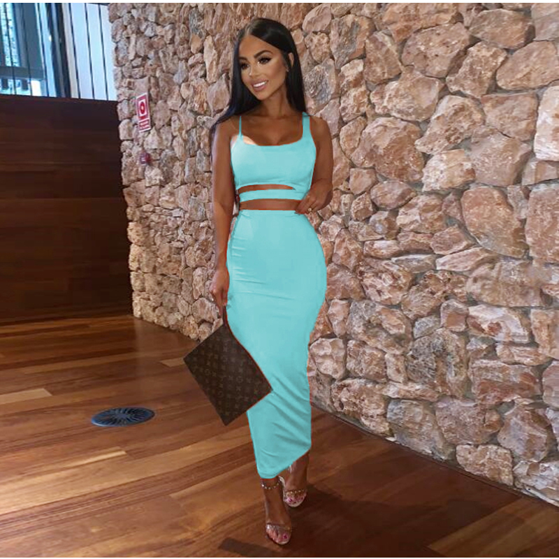 NewAsia Double Layers Summer Two Piece Set Women Hollow Out Crop Top And Long Skirts Matching Sets Party Club 2 Piece Outfits
