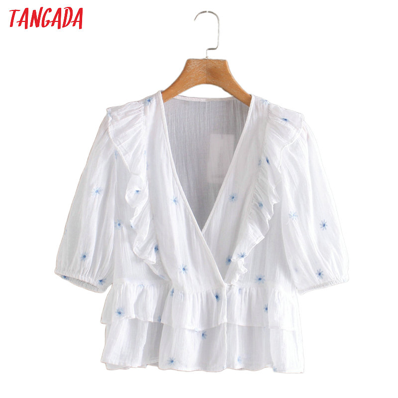 Tangada Women Embroidery Ruffle Short Sleeve Cotton Shirts V-neck Female Casual Summer Tops Blouses 2W210