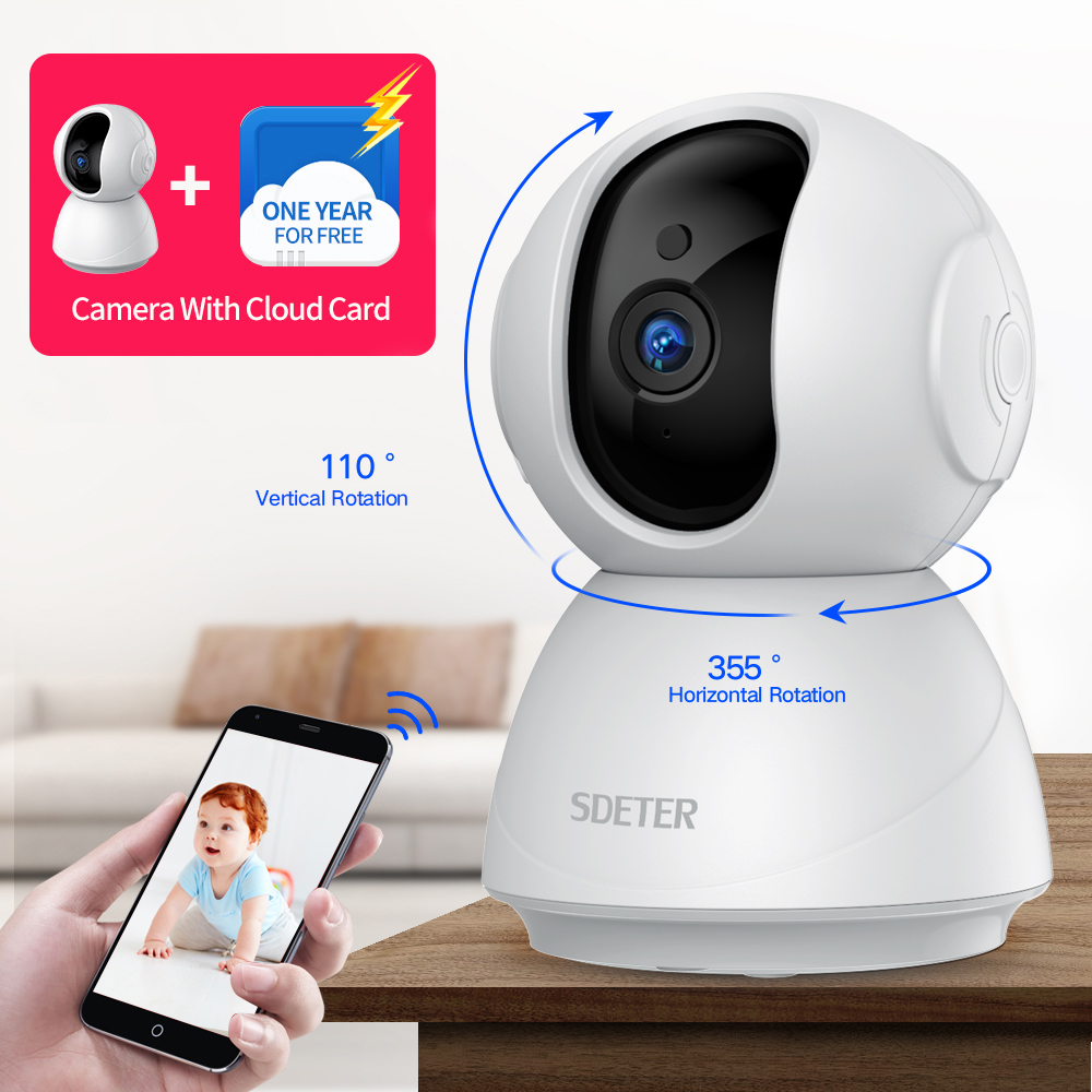 SDETER 1080P 720P Wireless Wifi Camera Security Camera IP CCTV Surveillance Night Vision Baby Monitor W Cloud Card One Year Free
