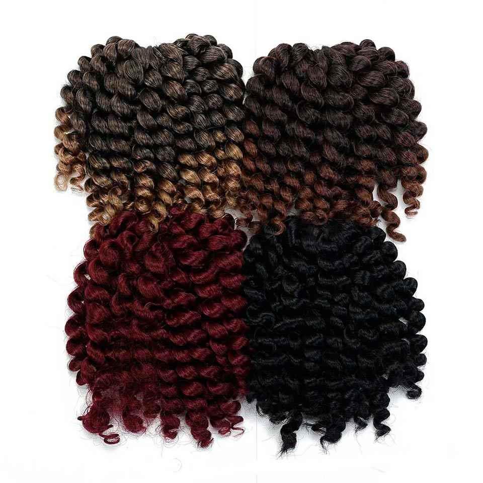 """WTB ямайский отскок крючком плетение волос 8 """"Черный Серый Омбре jumpy Wand с завитками, Синтетический Волосы кроше для наращивания волос Омбре"""