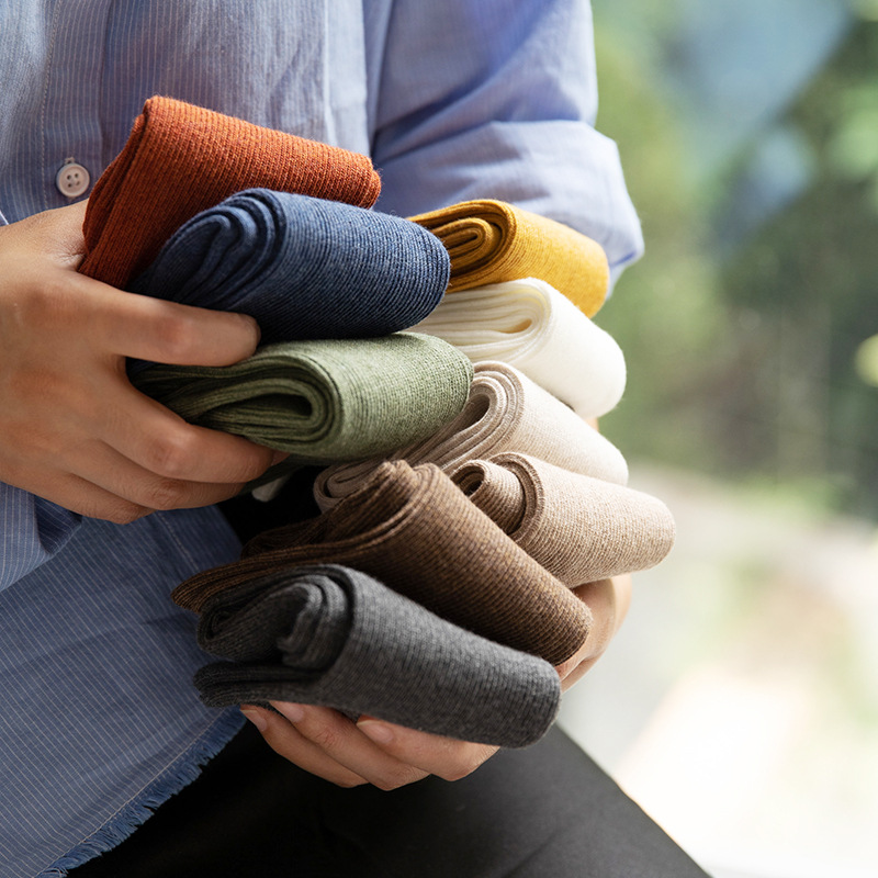 New Cotton Women Socks 2019 Autumn Fashion Solid Color Stripes Breathable Deodorant Wild Comfort Elastic Solid Crew Socks Women in Socks from Underwear Sleepwears