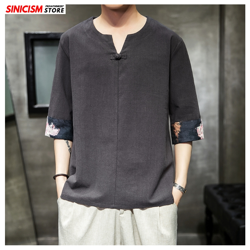 Sinicism Store 2020 Men Cotton Linen Buckle TShirts Men Summer Loose Vintage T Shirt Male Fashion Chinese Style T-shirt Oversize