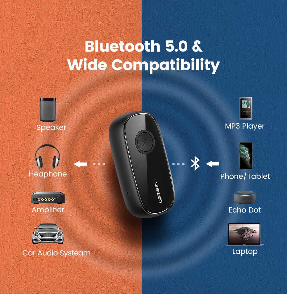 Ugreen Bluetooth Receiver 5.0 aptX LL 3.5mm AUX Jack Audio Adaptor Nirkabel untuk Mobil PC Headphone Mic 3.5 Bluetooth 5.0 reseptor