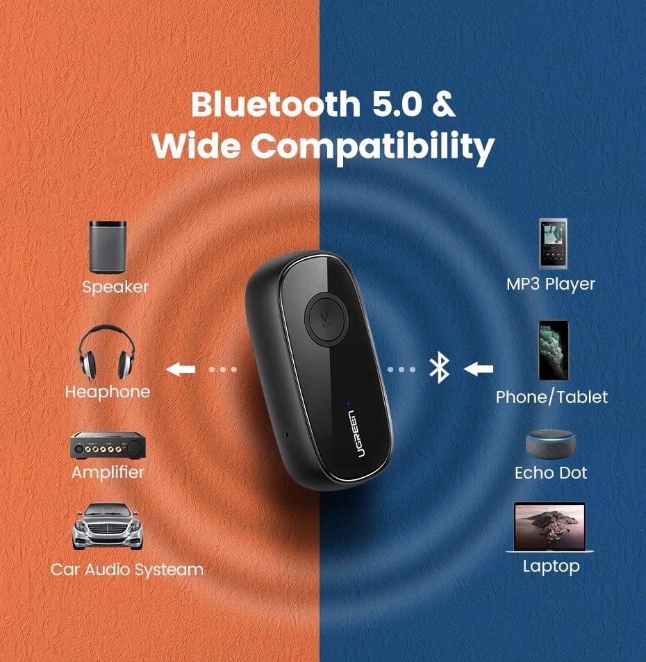 Ugreen bluetooth-ontvanger 5.0 aptX LL 3,5 mm aux-aansluiting audio - Draagbare audio en video - Foto 4