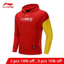 Li-ning suéter de tendencia para hombre, Sudadera con capucha de manga larga de ajuste Regular 63% algodón 37% poliéster Li forro deportivo Tops AWDP613 MWW1623