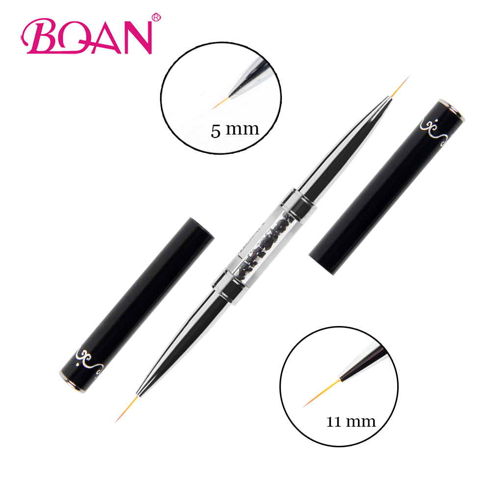 BQAN New Double Head 5mm/7mm/11mm Acrylic Flower Nail Art Brushes Liner Brush Drawing Line Crystal Handle Nail Art Manicure Tool
