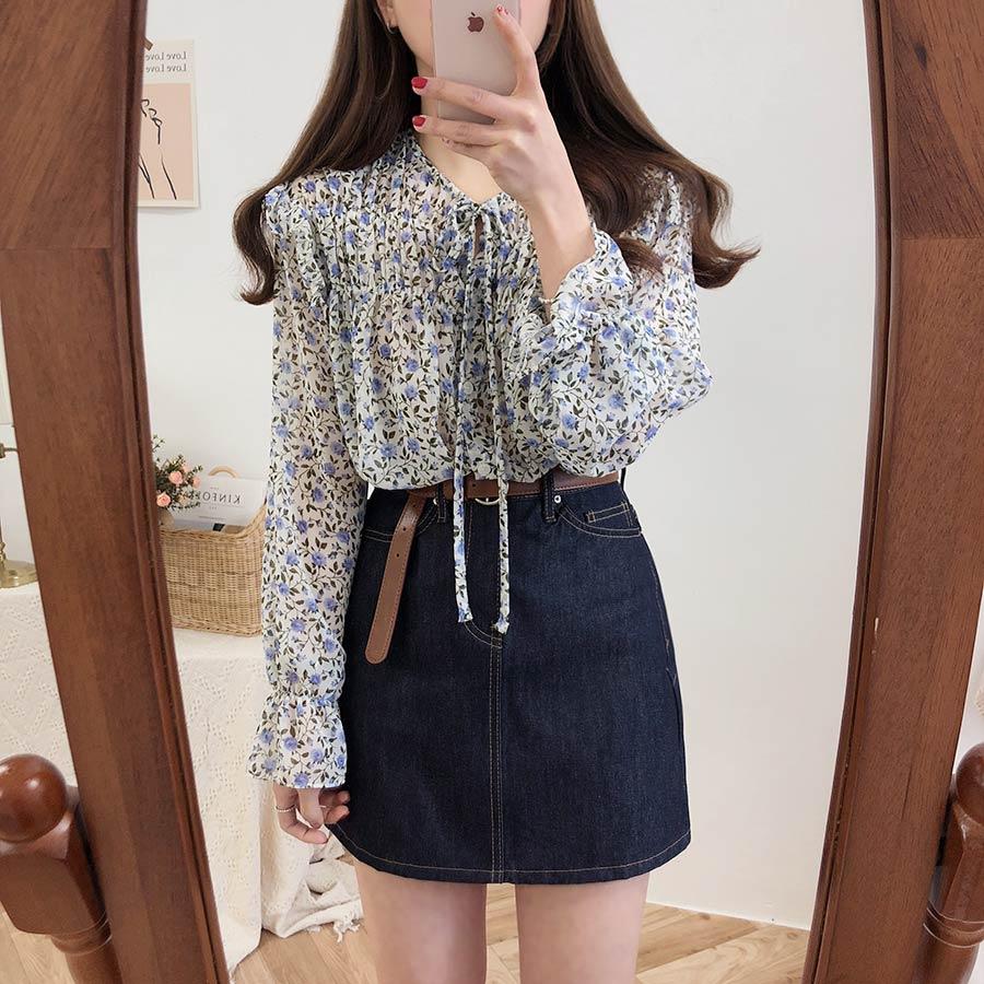 H0a5a63b39a9449a383fb7f41aef5e857l - Spring / Autumn Lace-Up Collar Long Sleeves Floral Print Blouse