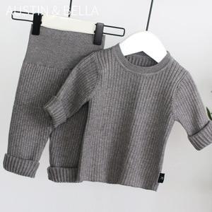 Image 3 - 2020 春の新 6m 4t冬の女の赤ちゃんセットニットboysセットセーター + パンツ 2 個子供服綿ニットスーツ