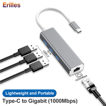 Computer Type c Hub for Macbook Air/Huawei Notebook Adapter to Gigabit Ethernet RJ45 1000Mbps USB 3.0 Hubs 4 Ports