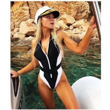 One-Piece Swimsuit Swim-Wear Push-Up Vintage Beach-Bathers High-Neck New Women Buckle