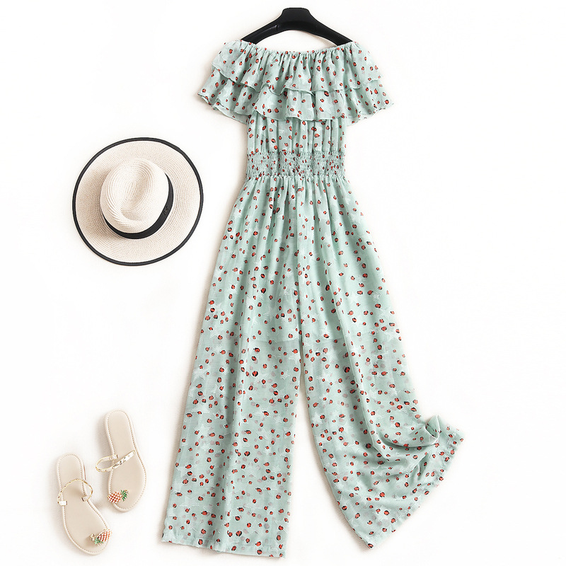 Off Shoulder Rompers Womens Jumpsuit  Fashion Nova Woman Print Ruffles Summer 2020 New Romper Women Fashion Green 2