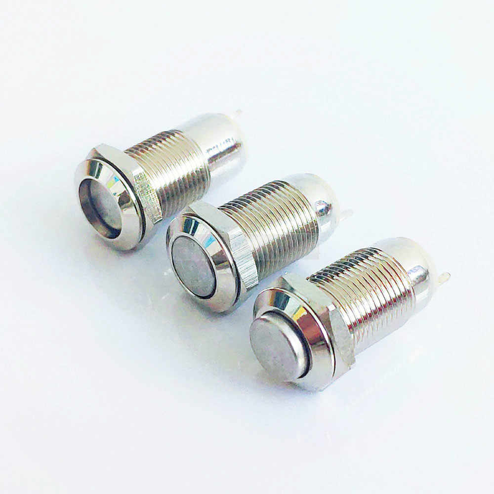 10MM 2pin agujero de Panel interruptor de botón de Metal botón de encendido botón plano de alta cabeza auto bloqueo/reinicio soldadura IP67 1NO