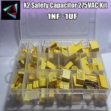 Condensador de seguridad X2 de 14 Valores, 275VAC, 135 K-102K, 1NF ~ 1UF, Kit surtido, 105 Uds.