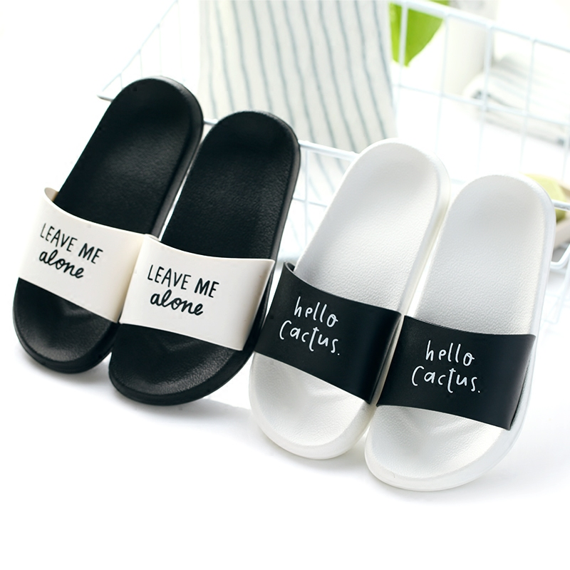 Women Summer Slippers Fashion Thick Soled Ladies Slides Platform Letter Cactus Beach Sandals Black White Men Shoes Flip Flops