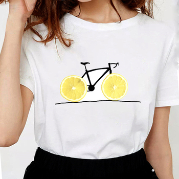 Lemon Donut Bicycle t shirts women Soft Cotton Funny t shirt Healthy ride graphic tees Women white Tops