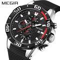 Новый хронограф megir спортивные часы мужские с большим циферблатом водонепроницаемые военные кварцевые мужские наручные часы с силиконовым...