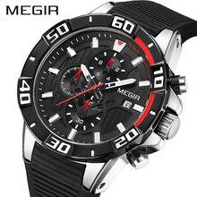 חדש MEGIR הכרונוגרף ספורט שעון גברים גדול חיוג עמיד למים צבאי קוורץ שעון יד גבר עם סיליקון רצועת זרוק משלוח