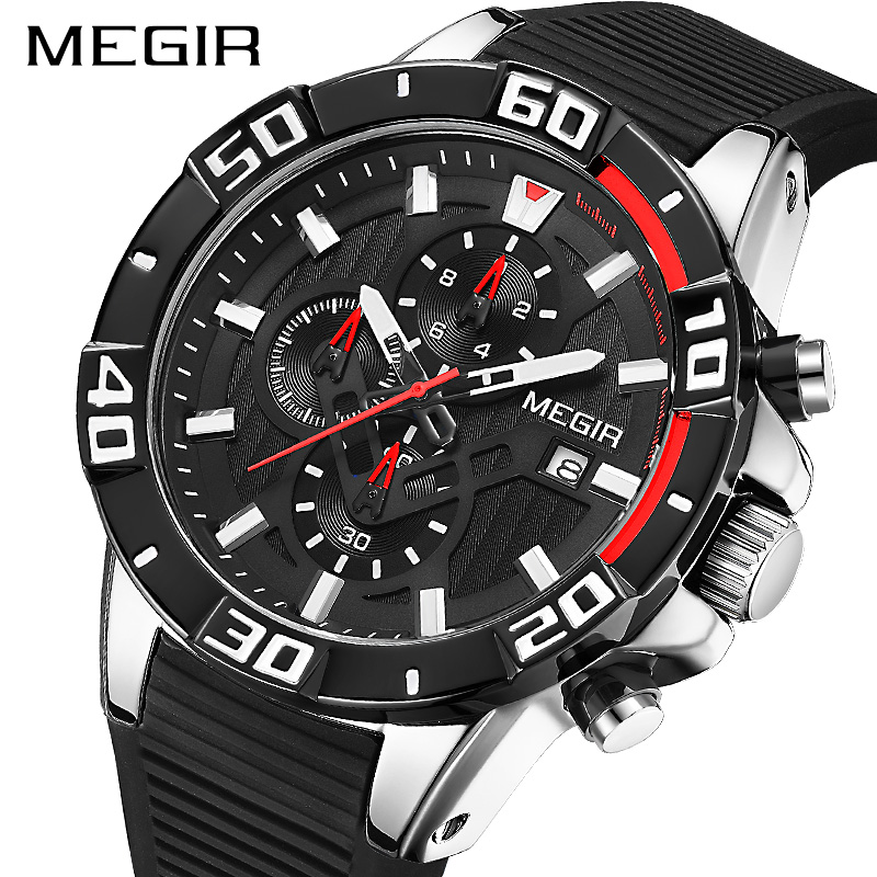 New MEGIR Chronograph Sports Watch Men Big Dial Waterproof Military Quartz Wrist Watch Man With Silicone Strap Drop Shipping