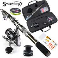 Sougayilang canne à pêche télescopique avec moulinets rotatifs Combos moulinet de pêche pôle leurre ligne sac ensembles Kit pour voyage matériel de pêche