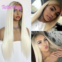 TaBeWay 13x6 Platinum Lace Front Wigs Straight Long Hair Glueless With Hairline Blonde Synthetic Lace Front Wigs For Black Women