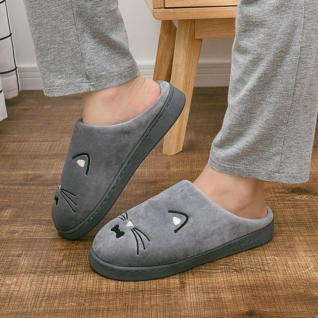 H0a5b38fd098c43598aed6829dc1757ecy Venda quente dos homens das mulheres casa de inverno chinelos quentes casais gato dos desenhos animados não-deslizamento piso chinelos casa interior sapatos
