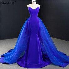 Женское вечернее платье с юбкой годе Serene Hill HM67117, синее платье без рукавов с открытыми плечами, 2020