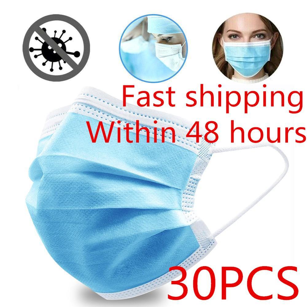 30pcs Nonwove 3 Layer Mask Disposable Mask Anti-Dust Mask Earloop Masks Anti-dust Virus Safe