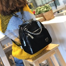 Fashion Sequin Backpacks For Women Nylon Backpack Casual Solid Color Schoolbag Multi-layer Large Capacity Travel Backpack