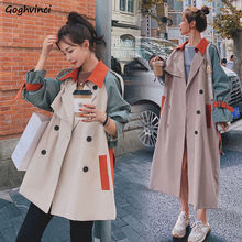 Trench Women Patchwork Loose A-line Double-breasted Plus Size 4XL Chic French All-match Ladies Chic Streetwear Elegant Outwear