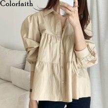 Blouse Shirts Puff-Sleeve Women Spring Colorfaith Wild-Tops Oversize Elegant Korean Lady