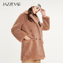 JAZZEVAR 2019 Winter new arrival fur coat women high quality mid-length style ou