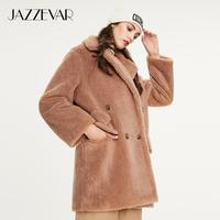 JAZZEVAR 2019 Winter new arrival fur coat women high quality mid length style outerwear loose clothing warm coat women K9052