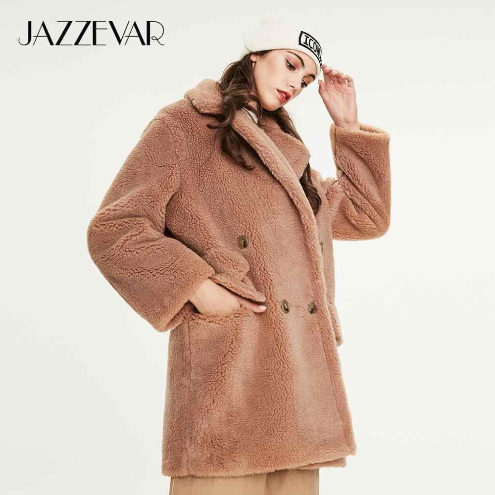 Jazzevar Musim Dingin 2019 Baru Mantel Bulu Wanita Berkualitas Tinggi Panjang Gaya Pakaian Pakaian Longgar Hangat Mantel Wanita k9052