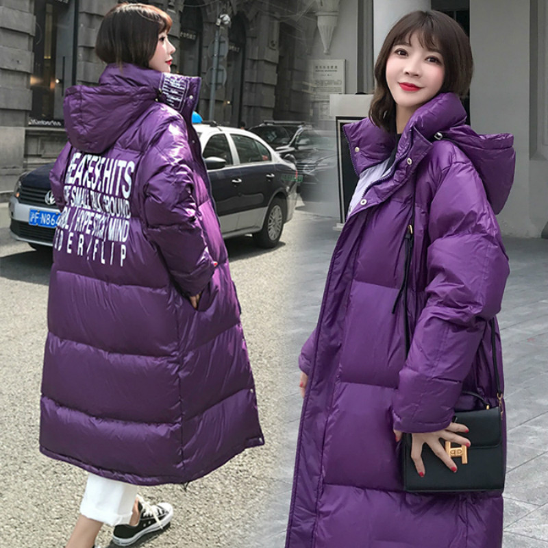 YASUGUOJI Fashion Letter Printed Ladies Padded Long Coat Thicken Warm High Quality Winter Jackets Women Parkas Puffer Jackets