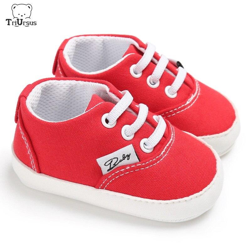 Triursus Brand Designer Baby Boys Girls Prewalker 2020 Spring Autumn Newborn Baby Red Casual Shoes Soft Cotton Infant Shoes