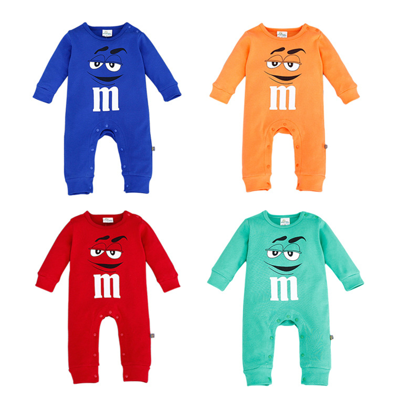 2020 Infant Clothes Autumn NewBorn Baby Rompers Letter M Clothing Costumes Funny Face Kids Jumpsuit New Born Boys Clothes