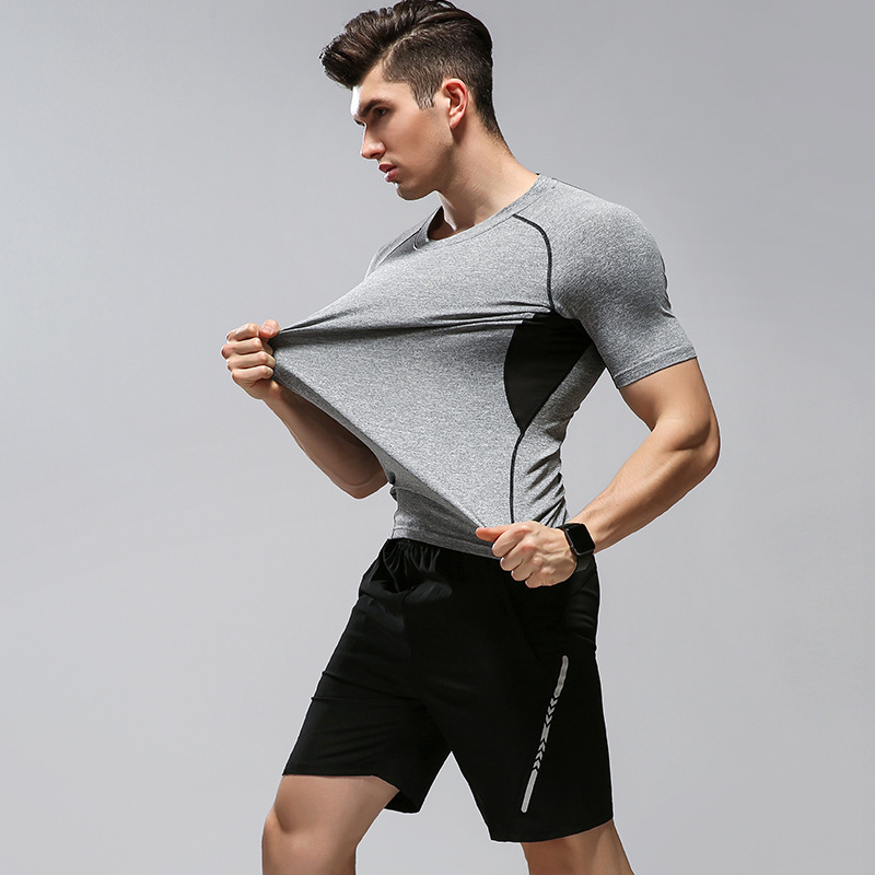 Sports Set Men's Summer Quick-Dry Running Fitness Suit Tights Short Sleeve Leisure Suit Two Piece Set
