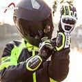 Motocicleta equitação luvas de couro locomotiva longo caso de proteção de carbono luvas de inverno masculino shatter-resistente ao vento toque sc