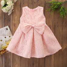 Korean Style Children's Dress Fashion Princess Dress Bow-knot Solid Color Cute Dress Girl Autumn Summer O-neck Kids Dress solid color sleeveless bow knot maxi dress