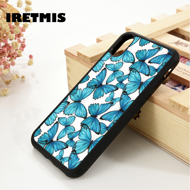 Iretmis 5 5S SE 6 6S TPU Silicone Rubber Phone Case Cover For IPhone 7 8 Plus X Xs 11 Pro Max XR Blue Butterflies Pattern