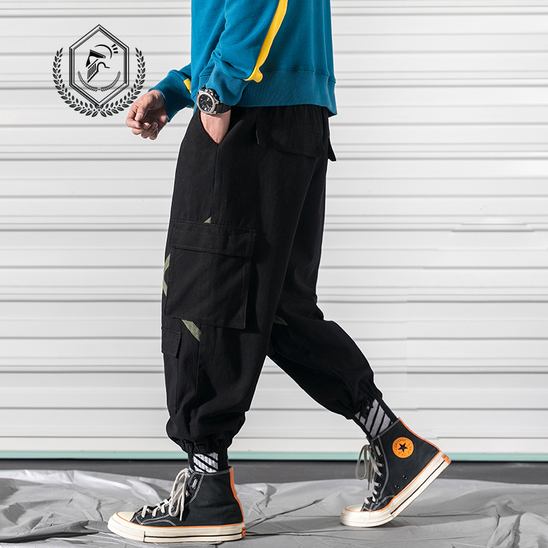 Men Loose Safari Style Pants Fashion Harem Jogger Staright Pants Ankle-Length Hip Hop Pants