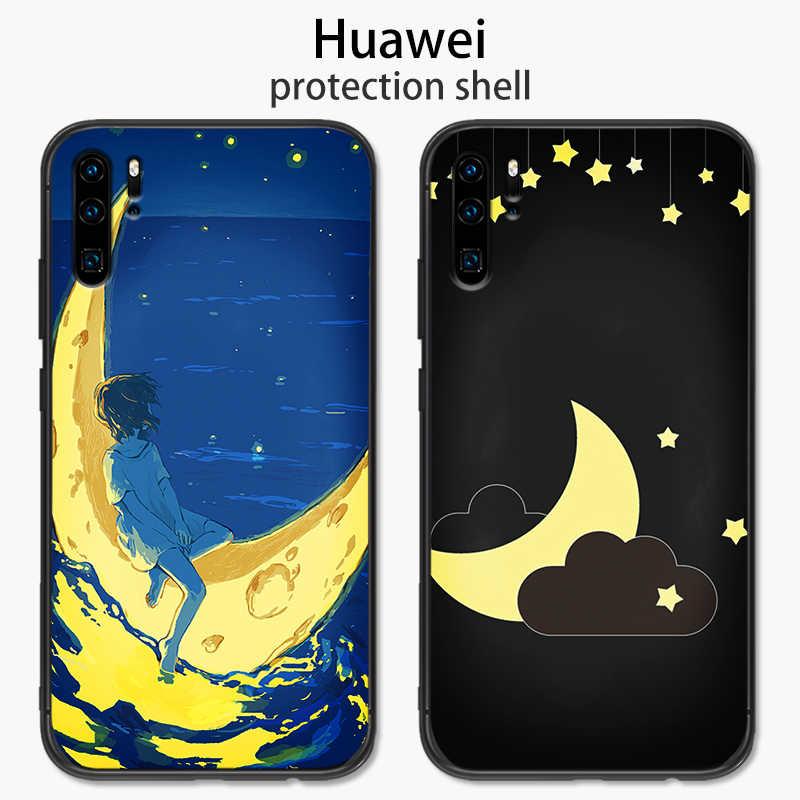 Dla Huawei P8 P9 P10 Lite Mini P20 P30 Pro księżyc La lune silikonowa TPU osłona zabezpieczająca etui na telefon Capa Fundas Coque