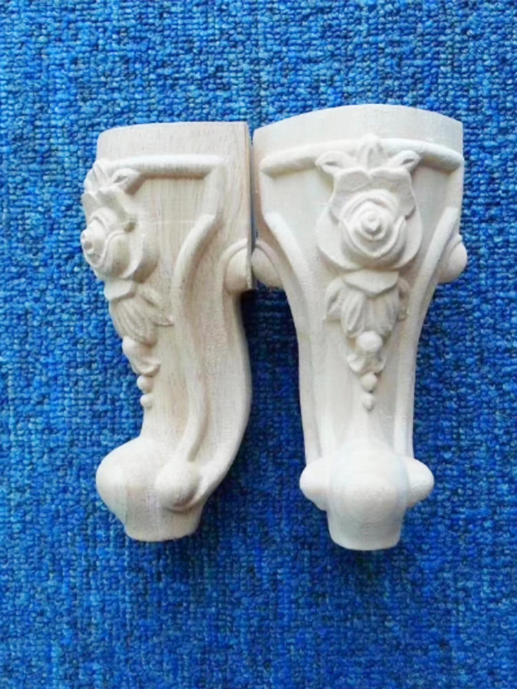 Wooden Furniture-Legs Sofa-Feet Cabinet-Seat TV Flower Carving No-Painting Drop-Ship